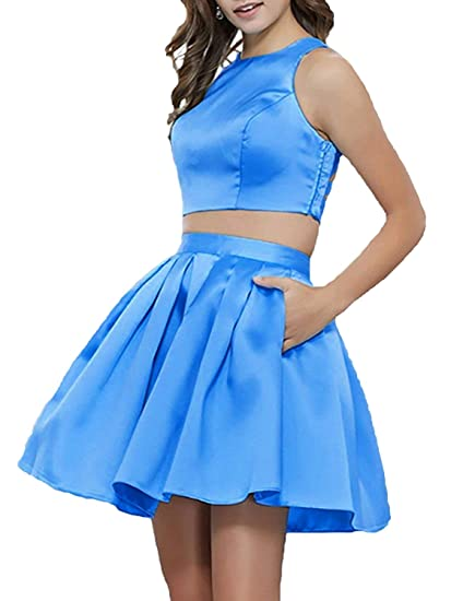 318e72bffe ANFF Women s Two Piece Homecoming Dresses Short Prom Party Dresses with Pockets  Bright Blue