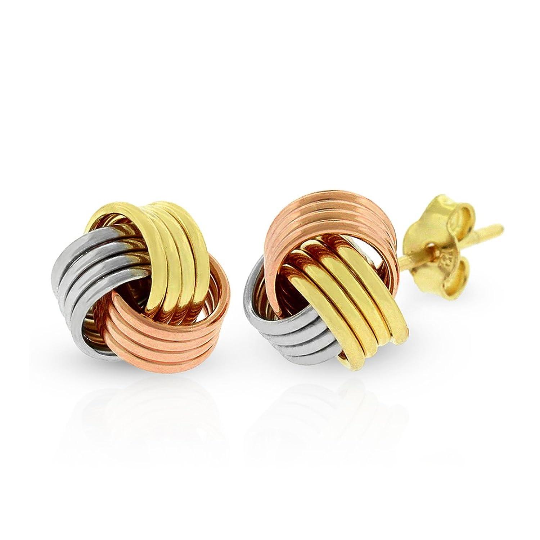 14k Gold Womens 8mm Love Knot Tri-Color High Polish Stud Earrings