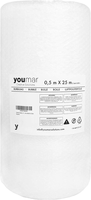 Youmar Solutions - Rollo De Plástico De Burbujas (0,5 Metro Ancho 25 Metros largo) Para Envolver Productos Frágiles En Transportes y Mudanzas. Alta Protección.Calidad Europea. (ESTANDAR)
