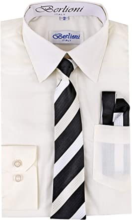 Berlioni Kids Boys Long Sleeve Dress Shirt With Tie and Hanky Off White