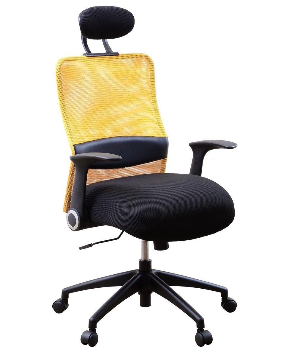 オフィスチェア メッシュ パソコンチェア 低反発 跳ね上げ式アームレスト ロッキング ハイバック オレンジ B00APUCNM8 オレンジ オレンジ