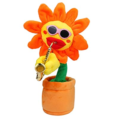 Sunflower Electric Toys, Sacow 60 Songs Singing Dancing Flower Toys with Saxophone Funny Electric Plush Toys (Yellow): Kitchen & Dining
