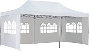 10x20 Ft Pop up Canopy Party Wedding Gazebo Tent Shelter with Removable Side Walls White