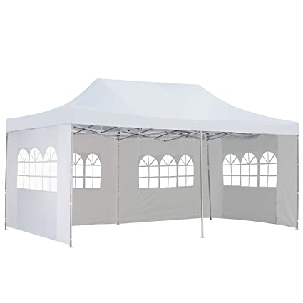 Ez Up Canopy 10x20 >> Outdoor Basic 10x20 Ft Pop Up Canopy Party Wedding Gazebo Tent Shelter With Removable Side Walls White
