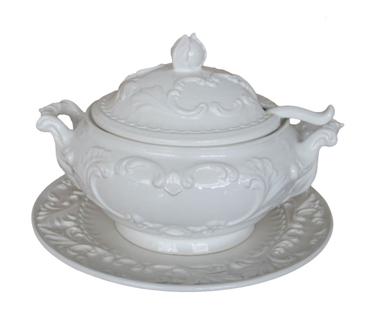 Zuppiera con piatto ceramica bianco MAXIOCCASIONI