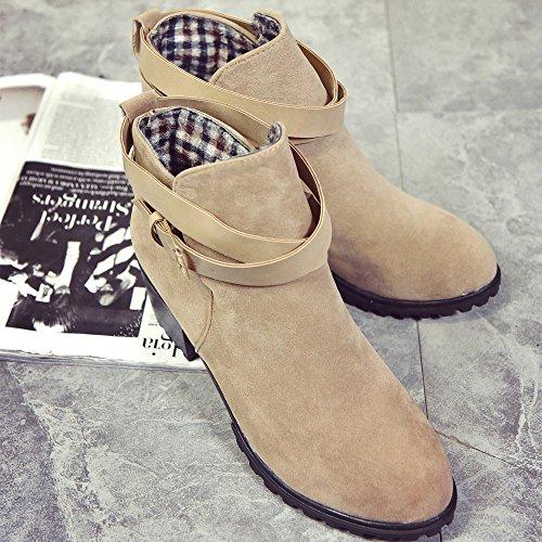Stiefeletten Damen Schuhe Xinan Herbst Winter Frauen Winter Schnee Damen Low Heel Knöchel Gürtelschnalle Martin Stiefel Schuhe Khaki