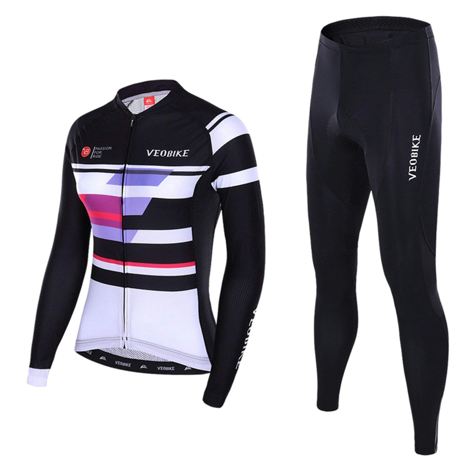 Aooaz Women's Cycling Clothes Full Sleeve Riding Wear Long Sleeve Shirt Tights Biking Outfit Black Size S