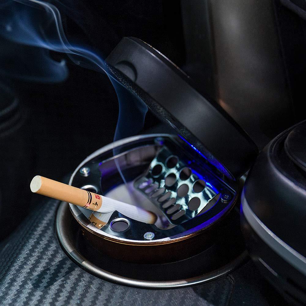 FMS Tragbare Auto Solar Aschenbecher mit deckel und blauer LED Licht mit Zigarettenanz/ünder und USB Aufladbar Abziehbar f/ür Getr/änkehalter Schwarz