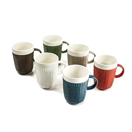 Amazon.com: Ceramic Coffee & Tea Mugs (Set of 6) – Unique Sweater ...
