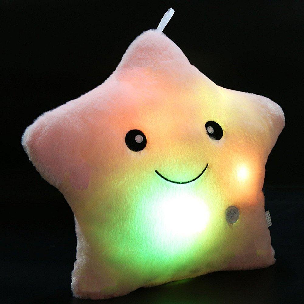 Cojín con luz LED Missley, diseño de estrella rosa