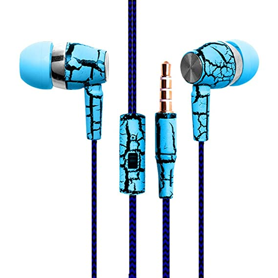 New Fashion Design Nylon Braided Crack Earphone Cloth Rope Earpieces Stereo  Bass MP3 Music Headset with Microphone for Cellphone MP3 MP4 (Blue)