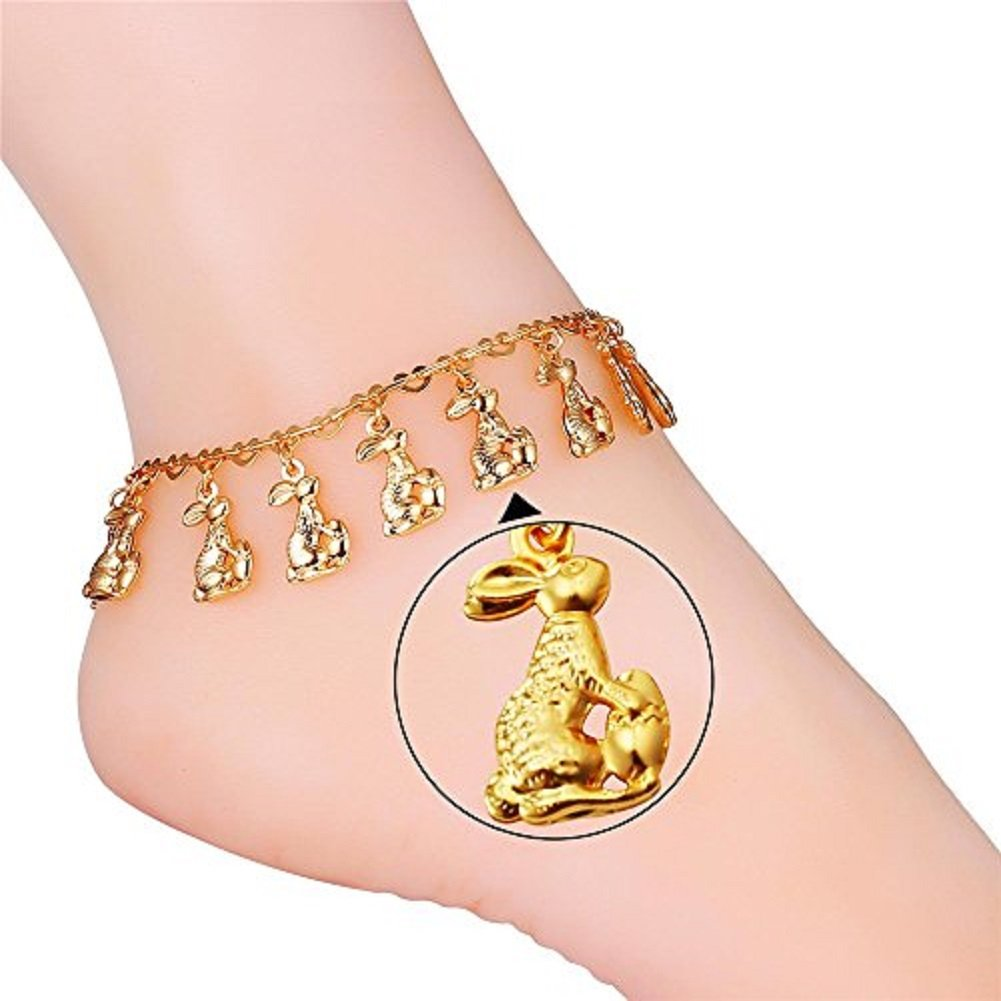 U7 Bunny Rabbit Charm Girls Fashion Foot Accessories 18K Gold Plated Chain Ankle Bracelet Anklets