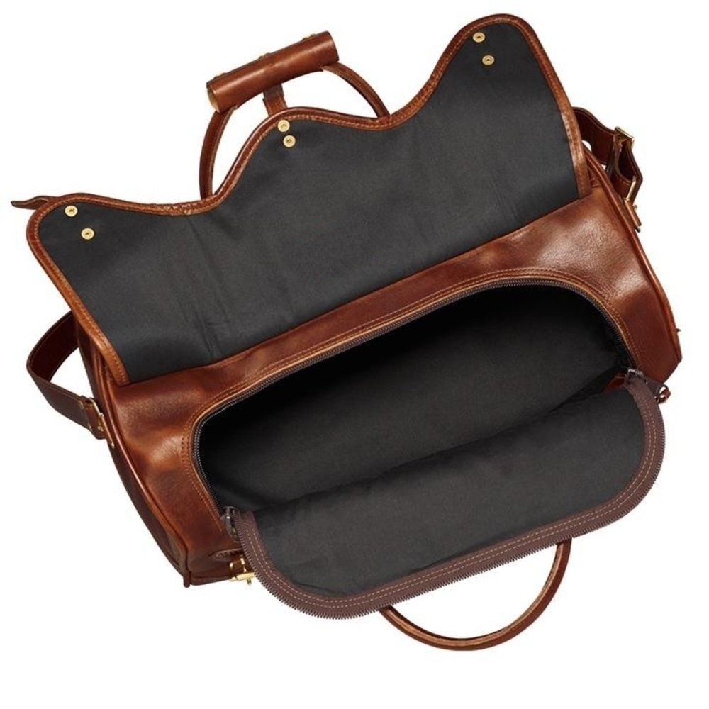 Leather Hubb Brown Leather Travel Duffel overnight Weekend bag For Men and Women