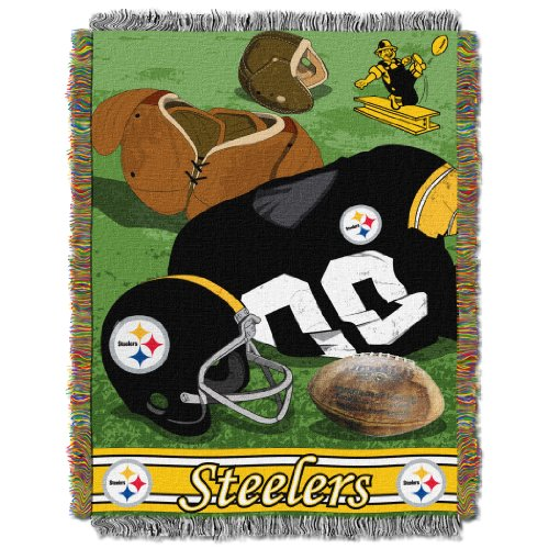 The Northwest Company Officially Licensed NFL Pittsburgh Steelers Vintage Woven Tapestry Throw Blanket, 48