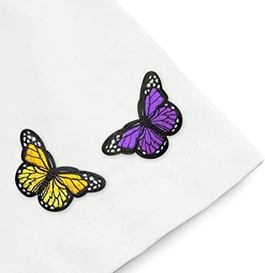 """3/"""" Orange Cream Butterfly Embroidery Patch"""