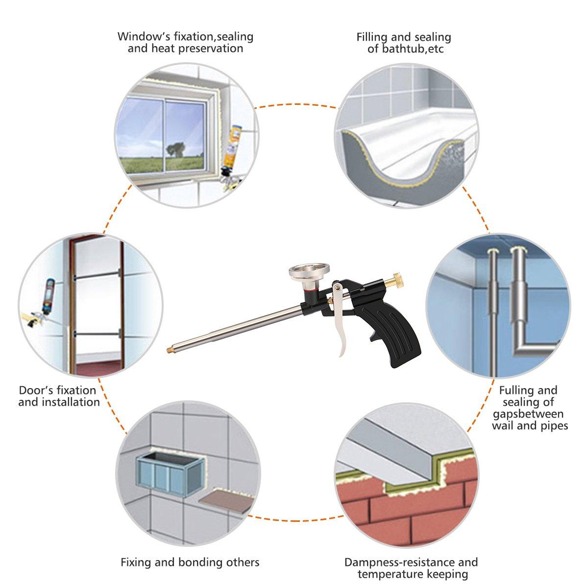 Gochange - Pistola profesional para suministrar espuma de poliuretano expandido, con cuerpo de metal: Amazon.es: Bricolaje y herramientas