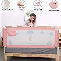 Baybee Bed Rail Guard for Baby Safety-Portable and Foldable Full Bed Rail for Kids (Pink, 180x63 cm)