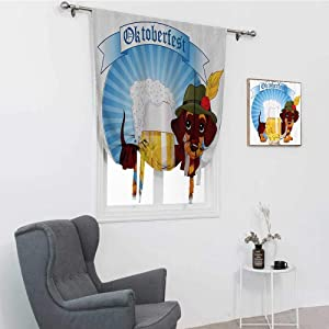 """GugeABC Festival Decorations Collection Blinds for Windows, Illustration of Dachshund Dog and A Pint of Beer on Striped Background Rod Pocket Balloon Shade, Blue Yellow Brown, 48"""" x 64"""""""