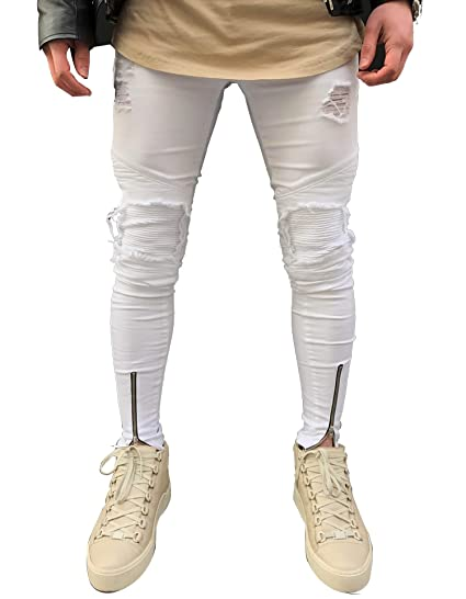 d84944890af Cute Demi Men Ripped Holes Jeans Zip Skinny Biker Black Jeans with Pleated  Patchwork Slim Fit Hip Hop Jeans Pants at Amazon Men's Clothing store: