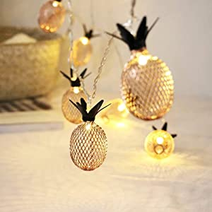 HuiZhen Novelty Pineapple String Lights,13ft 20 LED Twinkle Pineapple Fairy String Lights Battery Operated Warm White Metal Mesh for Christmas Home Wedding Party Bedroom Birthday Decoration