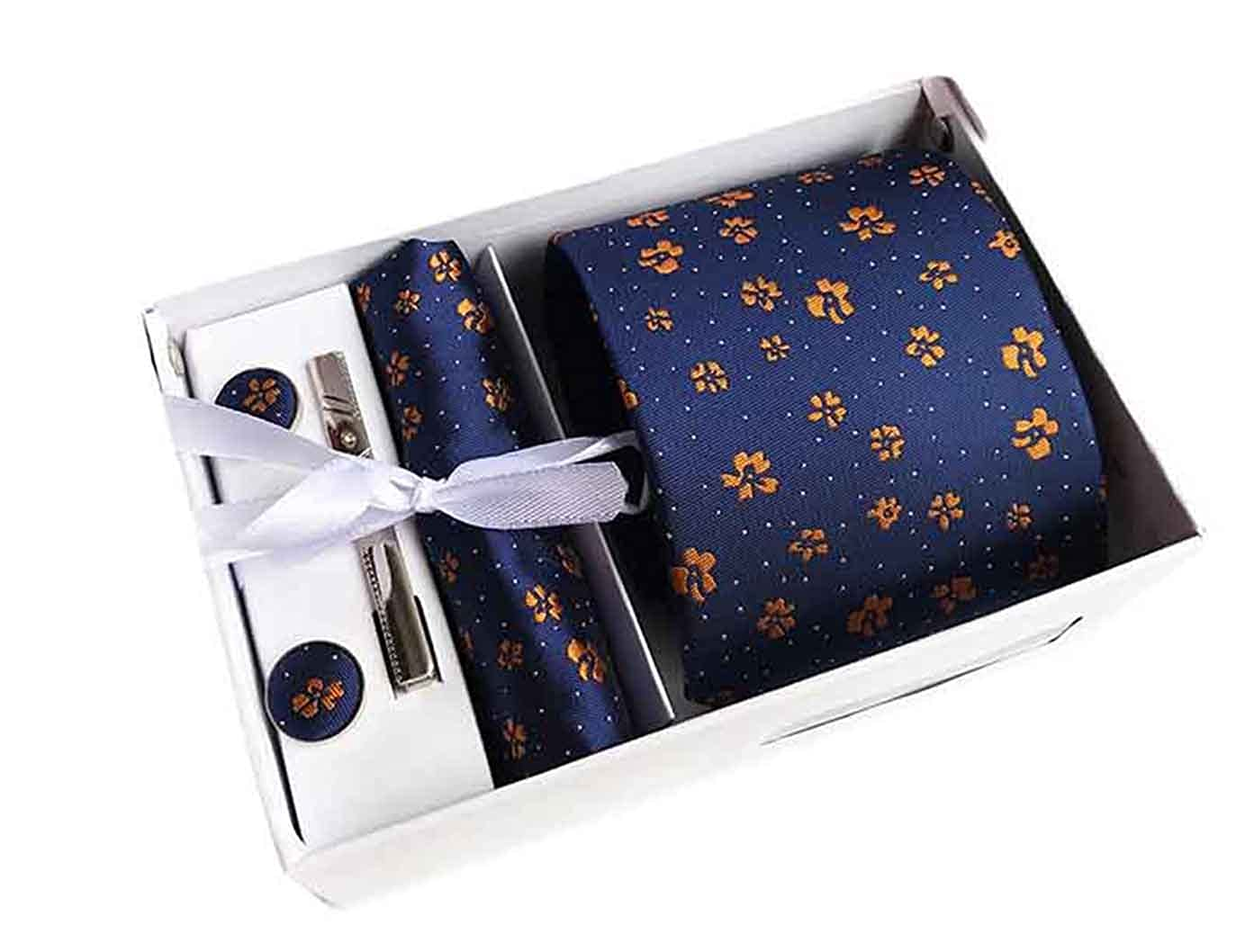 MENDENG Mens Blue Gold Floral Flower Necktie Tie Bar Pocket Square Cufflinks Set ENG1663