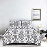 3 Piece Duvet Cover and Pillow Shams Set, Soft Microfiber (Queen Size)