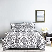 Duvet Cover Set Queen, Gray/Grey Black Damask European Pattern Printed on White, Soft Microfiber Bedding with Zipper Closure (3pcs, Queen Size)