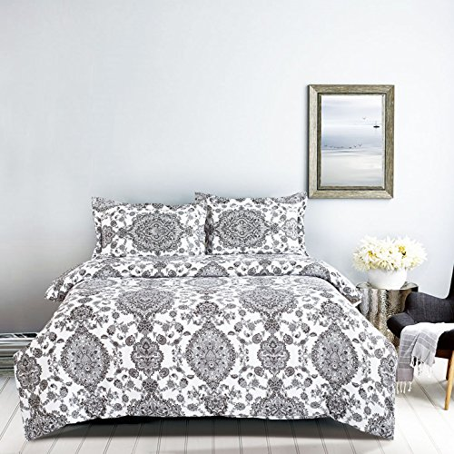 3pc Duvet Cover and Shams Bedding Set, with Zipper Closure and Corner Ties, Black/Gray Damask on White in Soft Microfiber (Queen Size) (Black And Gray Bedding Sets)