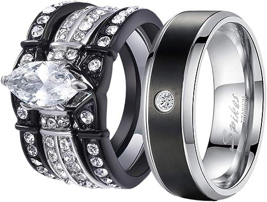 Amazon.com: Juego de anillos de boda para él y ella ...