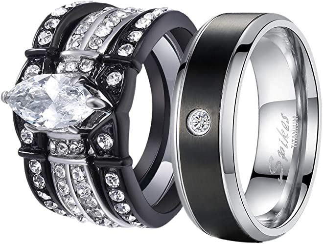 Amazon Com Mabella His And Hers Wedding Ring Sets Couples