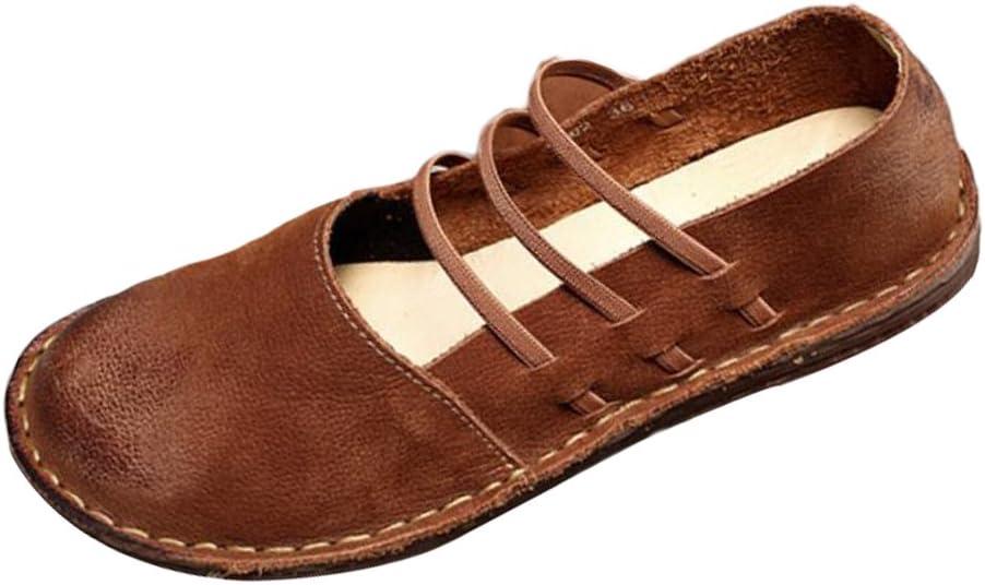 Mallimoda Damen Weinlese Handgemachte Lederschuhe Casual Slipper Low top Schuhe
