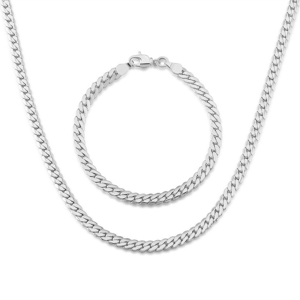 New Fashion High Quality Real 18K Platinum Plated Necklace&Bracelet Jewelry Sets for Women Men Gift NB60037-w DODO JEWELRY