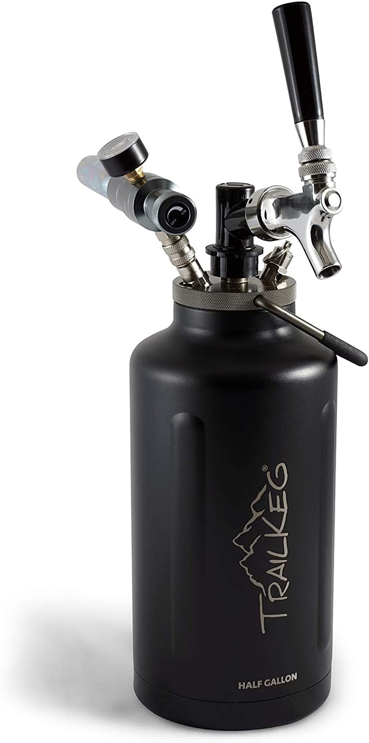 TrailKeg Half Gallon - Stainless Steel Growler for Beer - Vacuum Insulated Double Wall Design - Chrome Tap and Dual Stage CO2 Regulator - Keeps Drinks Perfectly Cold and Carbonated