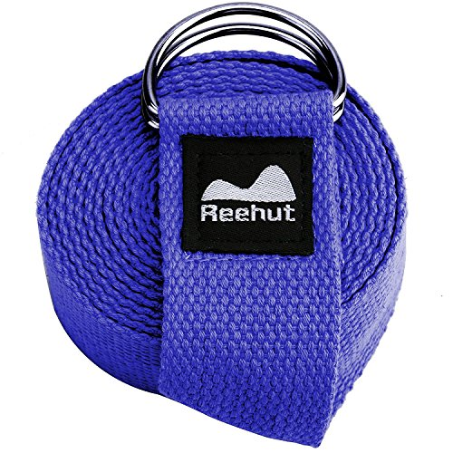 REEHUT Fitness Exercise Yoga Strap (8ft) w/Adjustable D-Ring Buckle for Stretching, Flexibility and Physical Therapy (Blue)