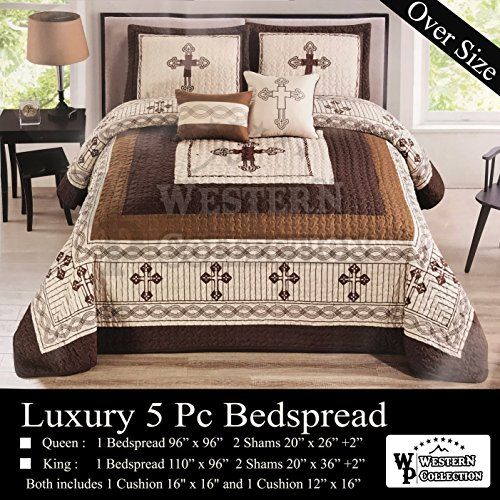 Western Collection New 5 Pieces Western Stars and Horses Cowboy Luxury Home Quilt Bedspread Oversize Comforter with Cushions (King, Beige Cross)