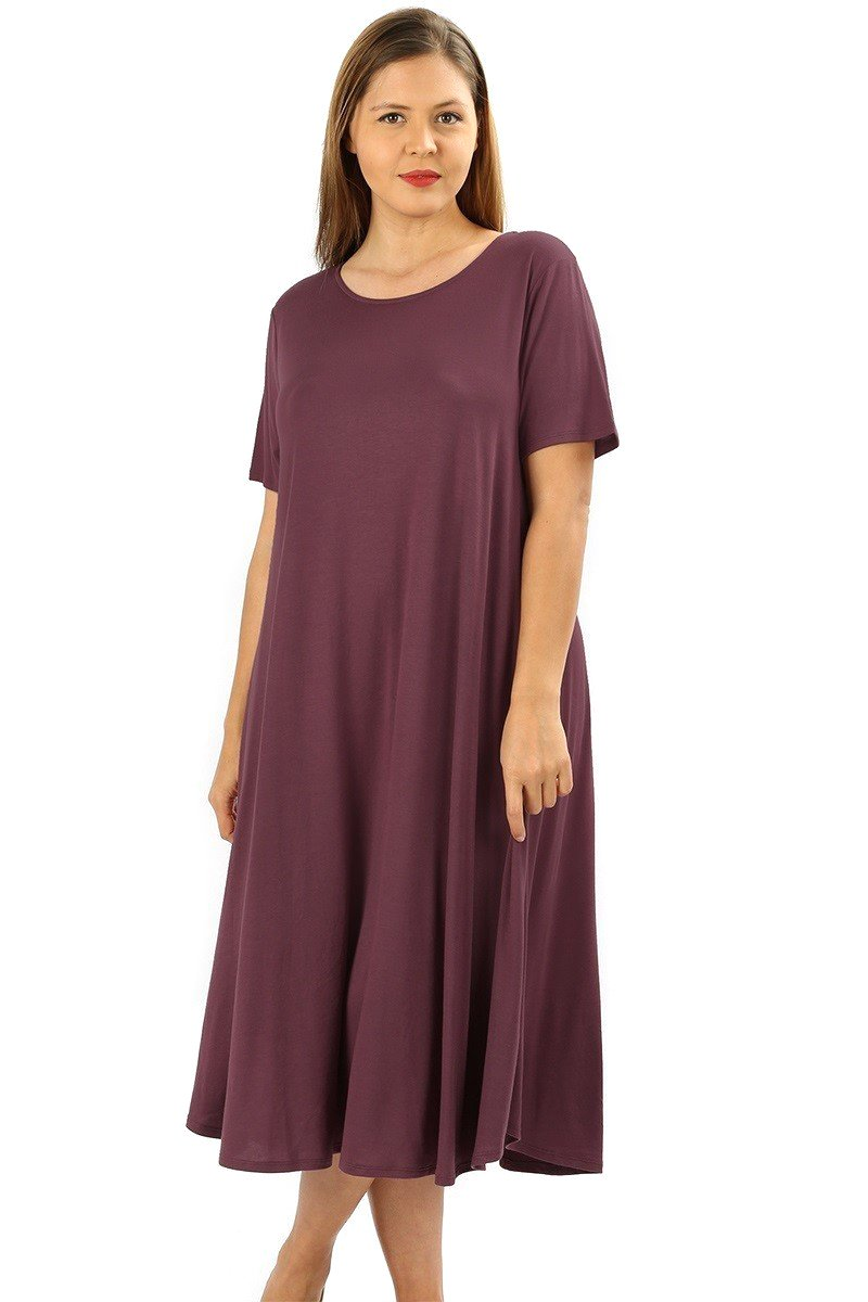 Modern Kiwi Short Sleeve Flowy A-Line Pocket Midi Maxi Dress Eggplant 3X