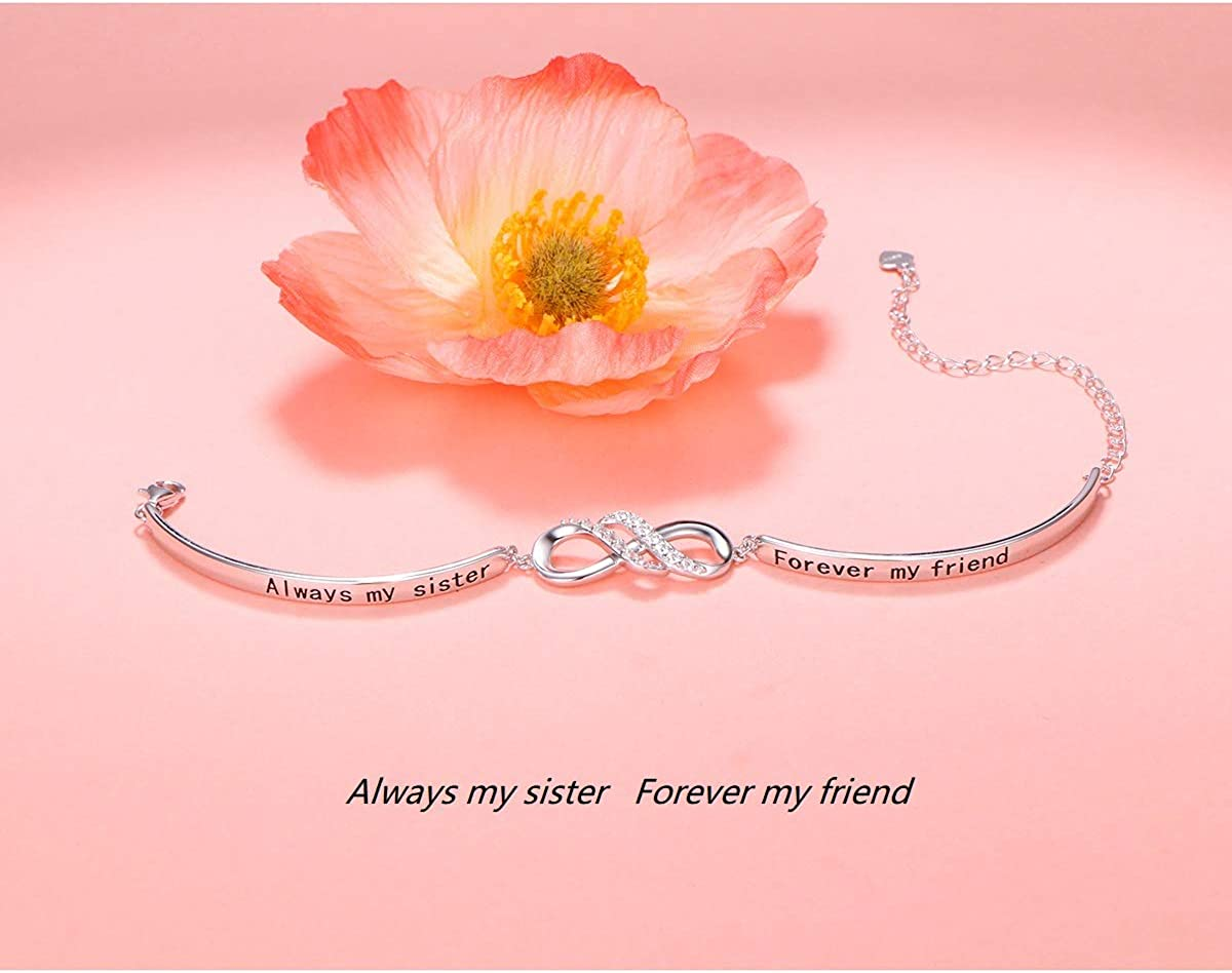 Forever My Friend Adjustable Sisters Bracelets Friendship Jewelry for Women Girls 925 Sterling Silver Infinity Inspirational Bracelet With MessageAlways My Sister