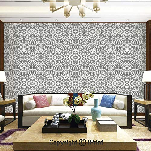 Lionpapa_mural Wall Decoration Designs for Bedroom,Kitchen,Self-AdhesiveMiddle Eastern Mosaic Antique Pattern Victorian Baroque Damask Influences Decorative,Home Decor - 100x144 inches