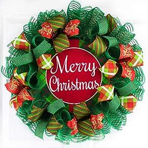 Merry Christmas Mesh Wreath | Front Door Wreath | Red White Emerald Green 113