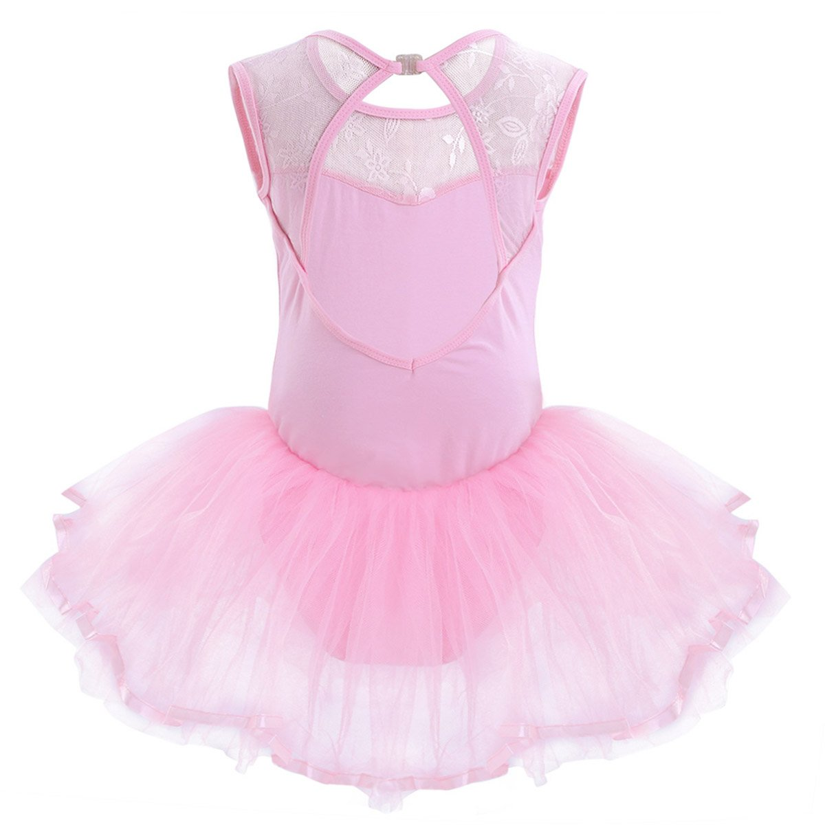 d14a8590b iEFiEL Girls Floral Lace Sleeveless Cutout Back Ballet Tutu Dress ...