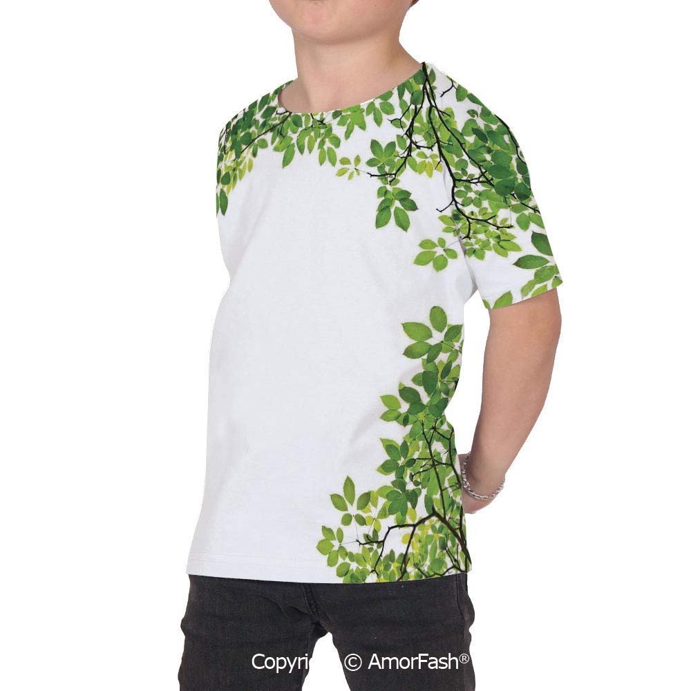 PUTIEN Leaves Girls Casual Button Down Short Sleeve Shirt,XS-2XL,Broad Leaves Close up