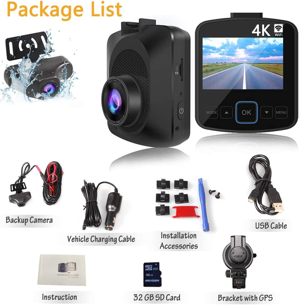 EWAY Dual Lens Car Dash Cam 4K WiFi with Phone App External GPS Front and Rear Camera Camera Recorder 2.4 LCD Screen Included 32GB Card