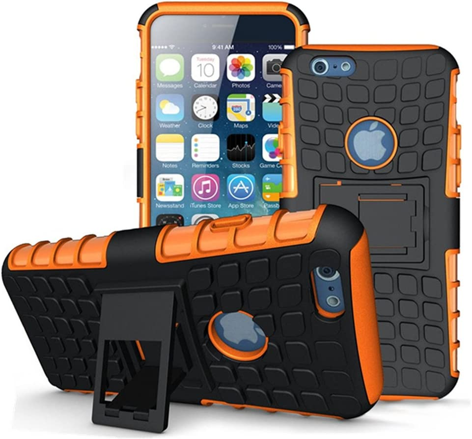 Lenboken iPhone 6 Plus Case, (TM) Armor 6 Plus Cases Tough Rugged Shockproof Tyre Skin Inner Kickstand Dual Layer Hybrid Hard/Soft Slim Protective Case for iPhone 6S Plus 5.5 inch (Orange)