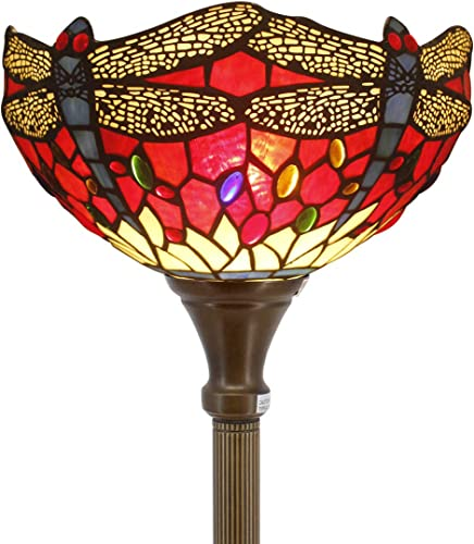 Tiffany Floor Lamp Torchiere Up Lighting W12H66 Inch Red Stained Glass Crystal Bead Dragonfly Lampshade Antique Standing Iron Base 1E26 Foot Switch S328 WERFACTORY Living Room Home Office Decoration