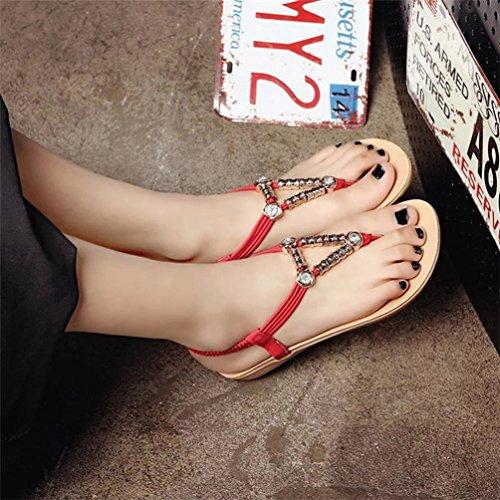 Sandalias de las mujeres, la Bohemia Clip dedo playa manoletinas abalorios Rojo