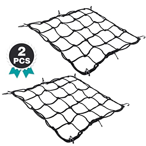 Motorcycle Helmet Net Cargo Net 2 Pack Bungee Net for Motorcycle Bike Load Cover ATVs with Hooks Elasticated Stretchable