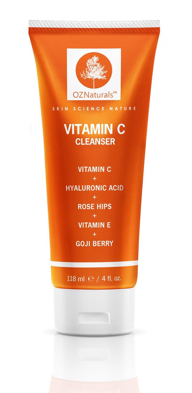 OZ Naturals - Nettoyant visage à base de Vitamine C - meilleur nettoyant visage avec soin anti-âge disponible sur le marché - il nettoie les pores en profondeur tout en proposant une protection anti oxydante 8 fois supérieure à la moyenne pour un teint rad