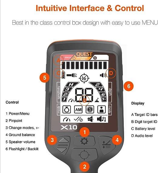 Amazon.com: Quest X10 - Detector de metales con hoja turbod ...