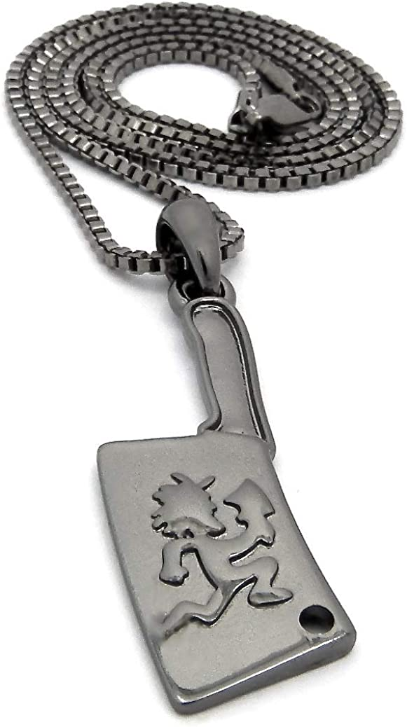 GWOOD Juggalo on Cleaver Pendant with Box Link Necklace GUN METAL COLOR WITH 24 INCH BOX CHAIN