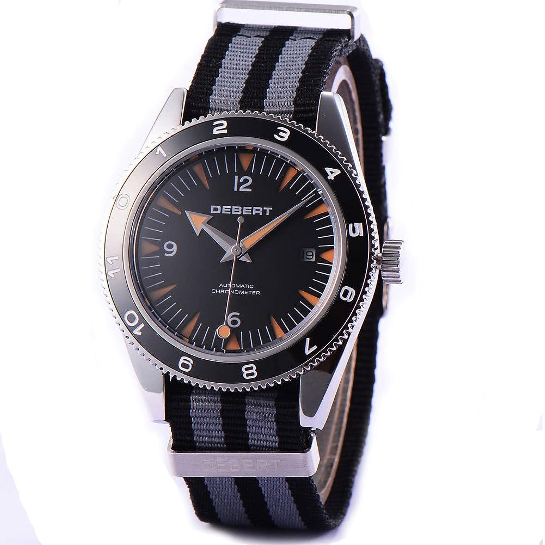 Debert Automatische Herren Armbanduhr Saphirglas schwarz Sandwich Zifferblatt Uhren